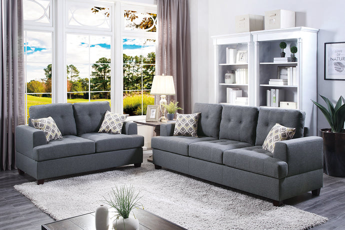 F7600 - Ashley 2-PCs Blue/Gray Sofa and Loveseat
