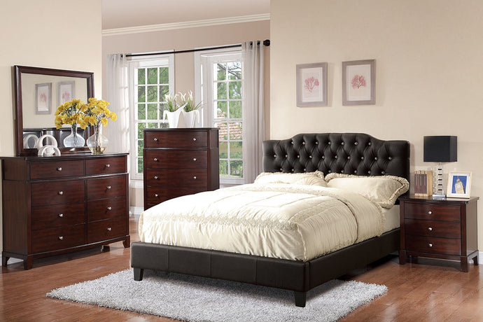 F9331F - Madden Black Full Faux Leather Platform Bed