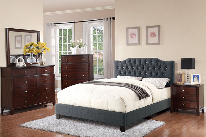 F9333F - Madden Blue Grey Polyfiber Full Platform Bed