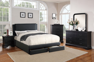 F9334F - Black Full Platform Bed