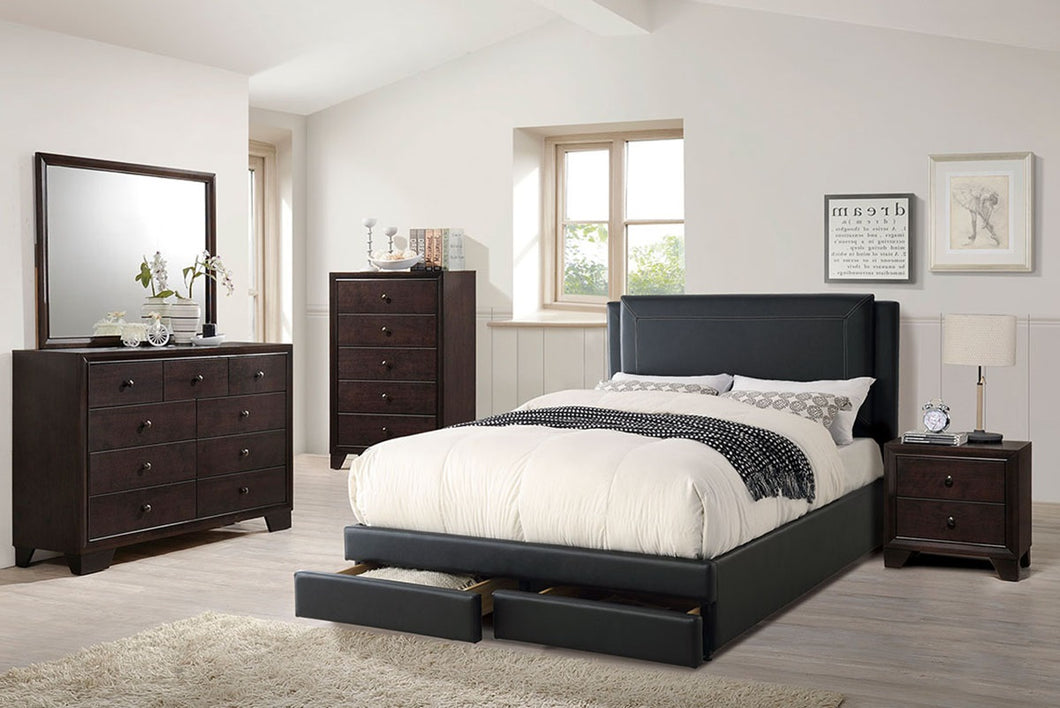 F9334Q - Black Faux Leather Queen Platform Bed