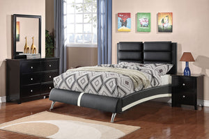 F9340F - Black & White Faux Leather Full Platform Bed
