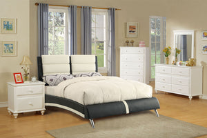 F9341Q - White & Black Faux Leather Queen Platform Bed