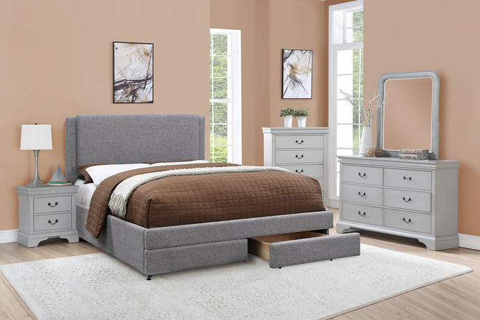 F9365Q - Stone Ash Grey Polyfiber Queen Platform Bed - Available in King Bed