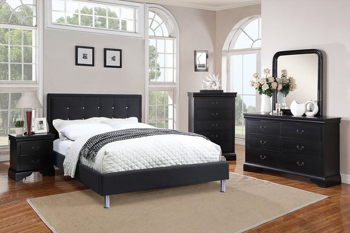 F9394Q - Nevio Black Queen Platform Bed - Available in Full