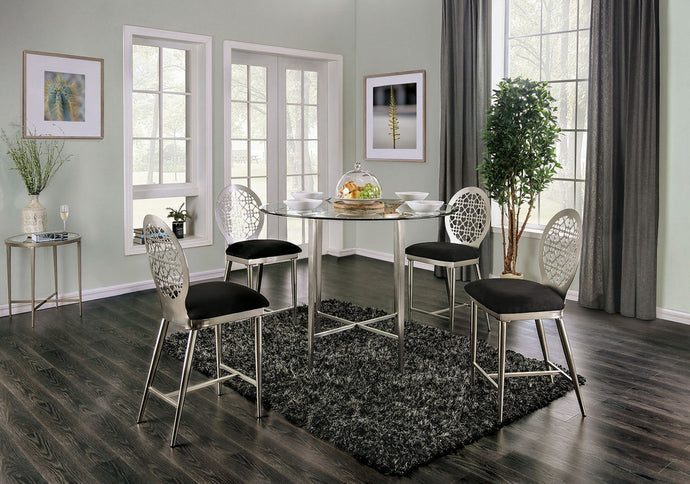 FOA3743PT - Abner Glass Top Counter Height Dining Table Set