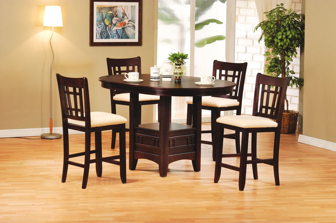 5-Piece Bar Table Set 07675 - Lugano Walnut Finish Bar Table + 4 Bar Chairs