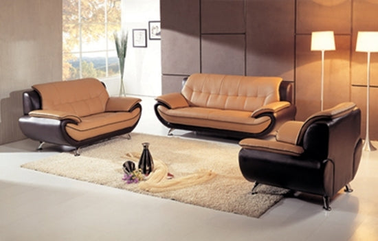 AE208-YO-BR - Havana Camel Bounded Leather Modern Sofa