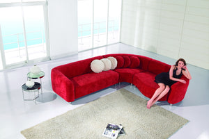 AE-L10 Modern Sectional - Eclipse Red Finish Fiber Fabric Modern Sectional Sofa
