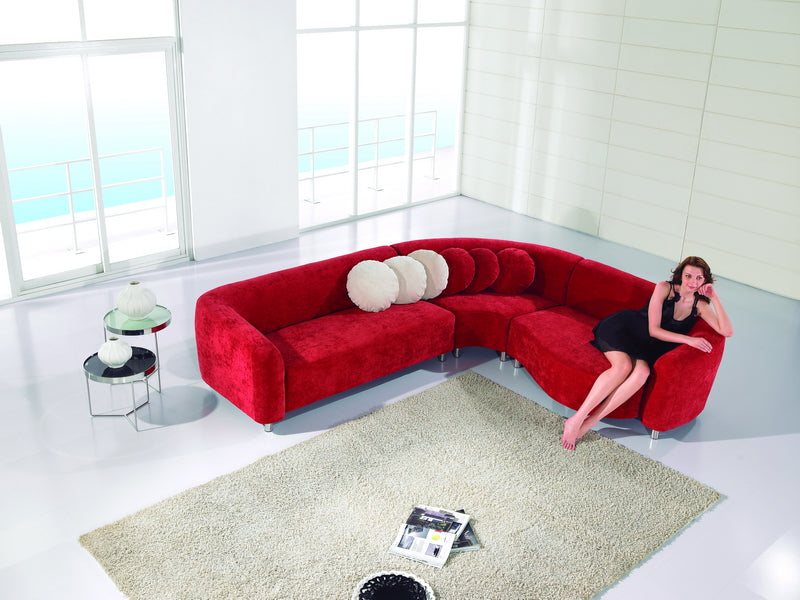Pleasing Ae L10 Modern Sectional Eclipse Red Finish Fiber Fabric Modern Sectional Sofa Caraccident5 Cool Chair Designs And Ideas Caraccident5Info