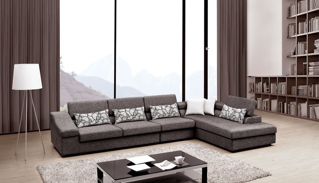 AE-L2213 Modern Sectional - Merano Gray Finish Fabric Modern Sectional Sofa