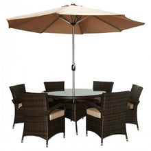 BAD-2233 Obero 8-Piece Espresso Brown All-Weather Wicker Patio Dining Furniture Set By The-Hom