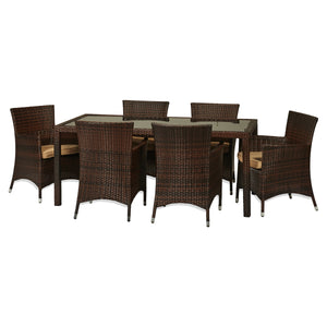 BAD-114 Rica 7-Piece Dark Brown All Weather Wicker Dining Furniture By The-Hom