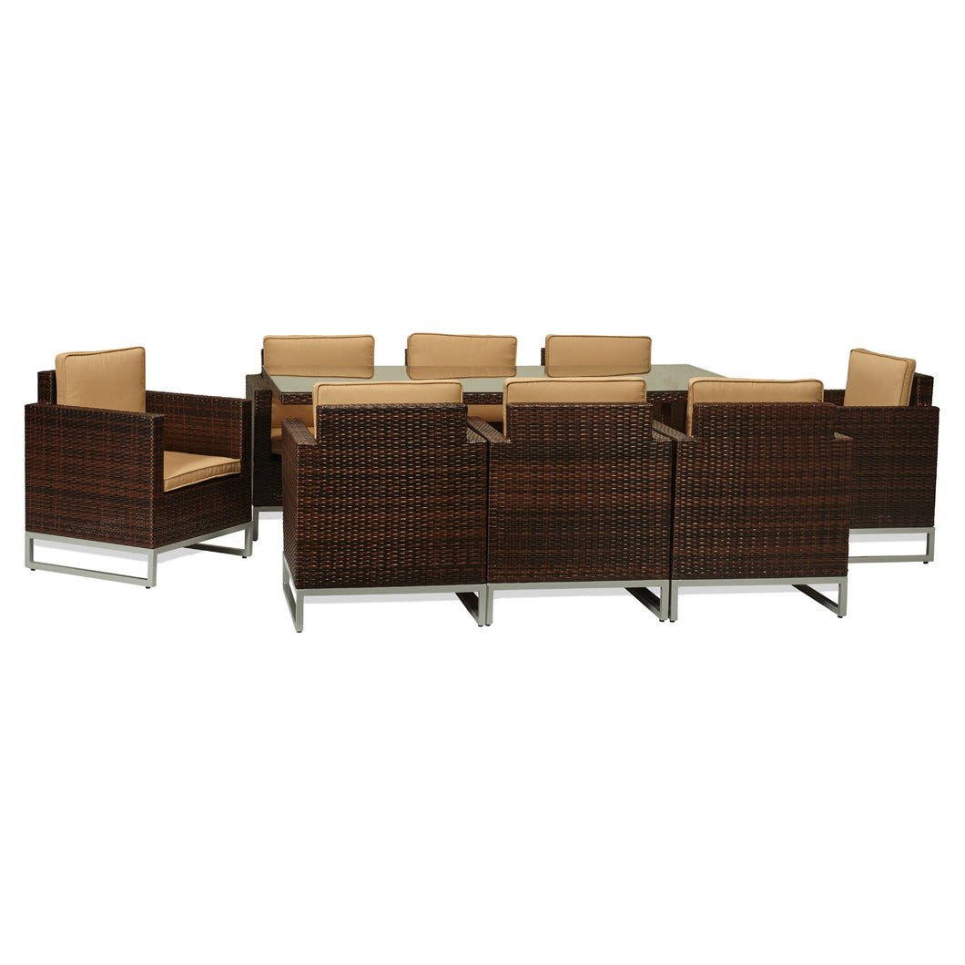 BAD-188 Capella 9-Piece Dark Brown All Weather Wicker Dining Furniture By The-Hom