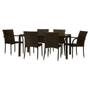 BAD-191 Viva 7-Piece Dark Brown All Weather Wicker Dining Furniture By The-Hom