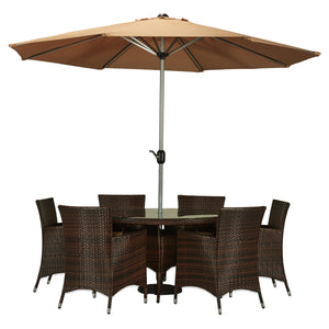 BAD-2219 Caso 8-Piece Espresso Brown All-weather Wicker Patio Dining Furniture Set By The-Hom