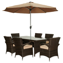 BAD-2232 Bora 8-Piece Espresso Brown All-Weather Dark Brown wicker Dinning Furniture Set By The-Hom