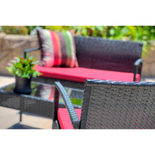 BLM-1111-BKRD Teaset All Weather Wicker Patio Seating Furniture Set in Red and Black Finish By The-Hom
