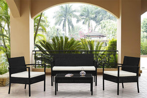BLM-1110-BKBG Teaset All Weather Wicker Patio Seating Furniture Set in Black and Beige Finish By The-Hom