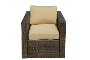 BAS-161-DB Aria Outdoor All Weather Wicker Patio Seating Set in Dark Brown Finish & Beige Cushions By The-Hom