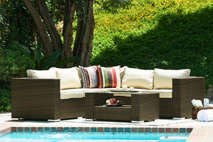 BAS-2226 Kessler Outdoor Wicker Furniture Sectional Sofa Set in Beige-Espresso Brown Finish By The-Hom