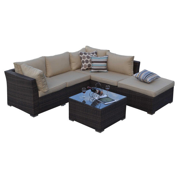 BAS-2513 Jicardo Outdoor Wicker Furniture Sectional Sofa Set in Beige and Dark Brown Finish By The-Hom