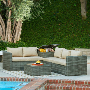 BAS-2516-G All Weather Wicker Patio Seating Sectional Set in Gray & Beige Cushions By The-Hom