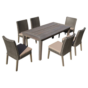 BAS-6114G Winchester 7-Piece Antique Grey Finish Hard Wood / Gray All-Weather Wicker Patio Dining Set By The-Hom