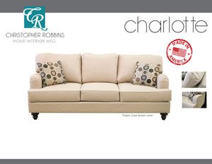 Christopher Robbins Sofa Collection - Custom Fabric Upholstery - Charlotte Sofa Made In USA - CALL FOR PRICING