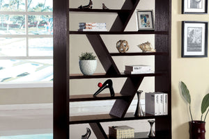 CM-AC118 Display Shelf - Kamloo Contemporary Style Zigzag Shelf Espresso Finish Display Bookshelf