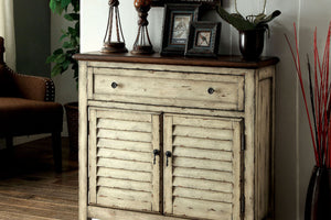 CM-AC148 Storage Cabinet - Hazen Vintage Style Distressed White Finish Storage Cabinet