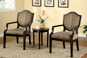 CM-AC6026-3PK Accent Chairs and Table - Bernetta Traditional Style Padded Fabric 2 Piece Accent Chairs and Table Set