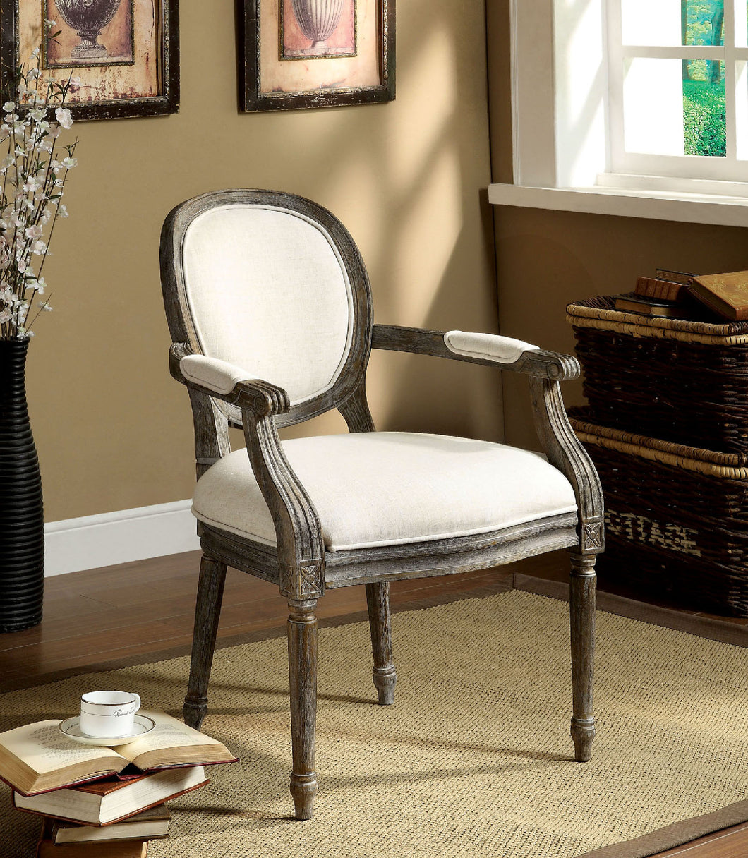 CM-AC6055 Accent Chair - Conway Contemporary Style Beige Linen Fabric Reclaimed Gray Finish Accent Chair