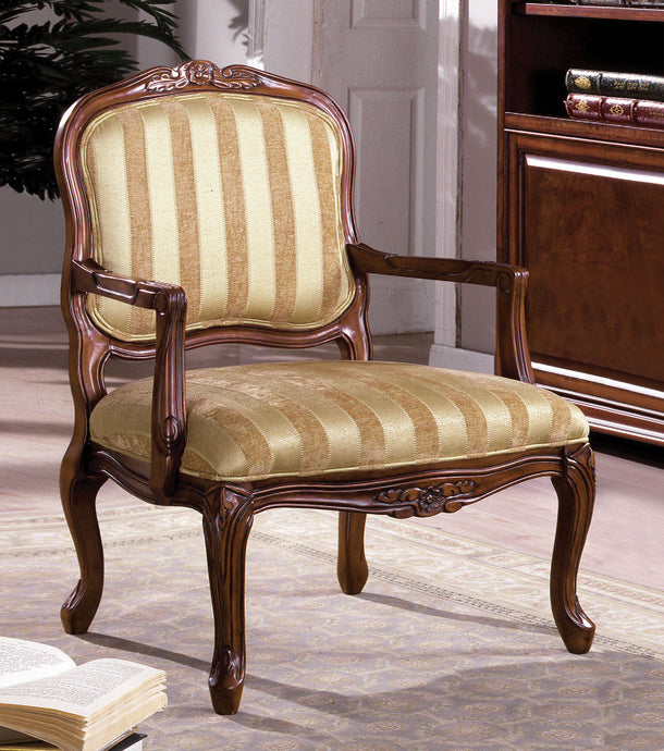 CM-AC6100 Accent Chair - Burnaby Patterned Fabric Antique Oak Finish Traditional Style Accent Chair