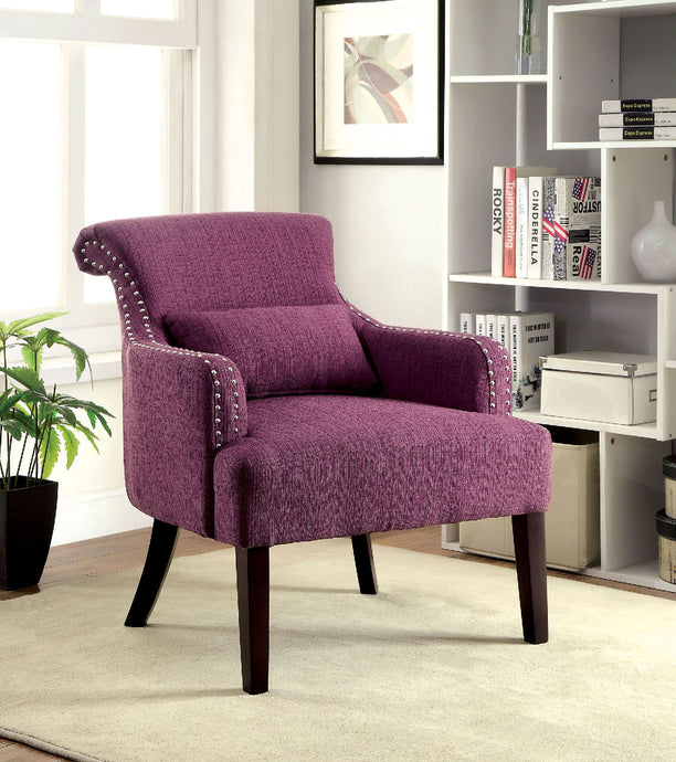 CM-AC6113PR Accent Chair - Agalva Contemporary Style Purple Finish Fabric Accent Chair
