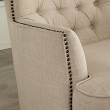 CM-AC6183 Accent Chair - Odelia Ivory Linen-like Fabric with Nailhead Trim Transitional Style Accent Chair