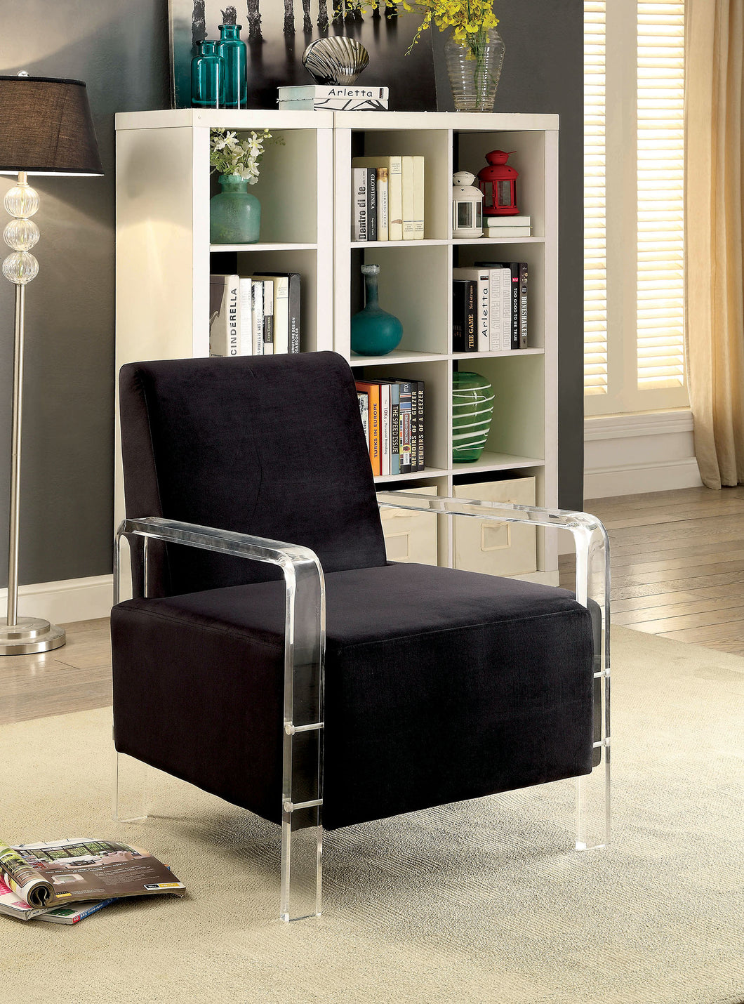 CM-AC6187BK Accent Chair - Shelia Black Finish Flannelette Fabric Modern Style Accent Chair