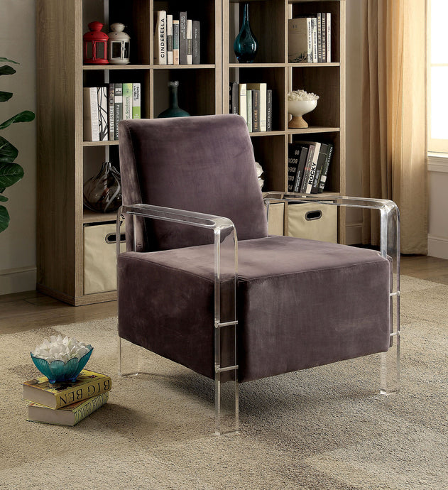 CM-AC6187GY Accent Chair - Shelia Grey Finish Flannelette Fabric Modern Style Accent Chair