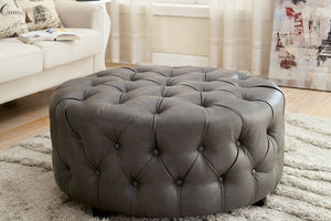 CM-AC6289 Ottoman - Latoya Contemporary Style Grey Finish Bonded Leather Ottoman