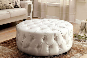 CM-AC6289 Ottoman - Latoya Contemporary Style White Finish Bonded Leather Ottoman