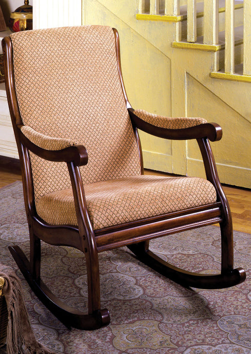 CM-AC6408 Rocking Chair - Liverpool Antique Oak Finish Padded Fabric Seat Traditional Style Rocking Chair