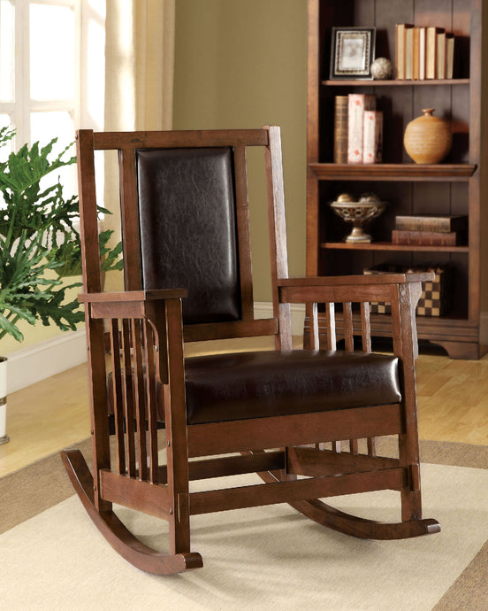 CM-AC6580 Rocking Chair - Apple Valley Dark Espresso Finish Leatherette Seat Classic Style Rocking Chair