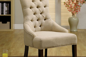 CM-AC6662 Accent Chair - Sala 2 Pieces Contemporary Style Ivory Finish Linen Fabric Accent Chair