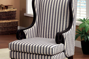 CM-AC6802 - Rivera White & Dark Blue Stripe Accent Chair