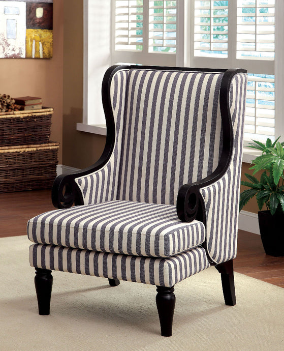 CM-AC6802 Accent Chair - Rivera White & Dark Blue Stripe Transitional Style Fabric Accent Chair