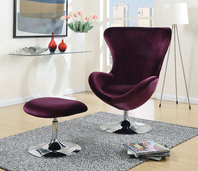 CM-AC6841 - ELoise Purple Accent Chair with Ottoman