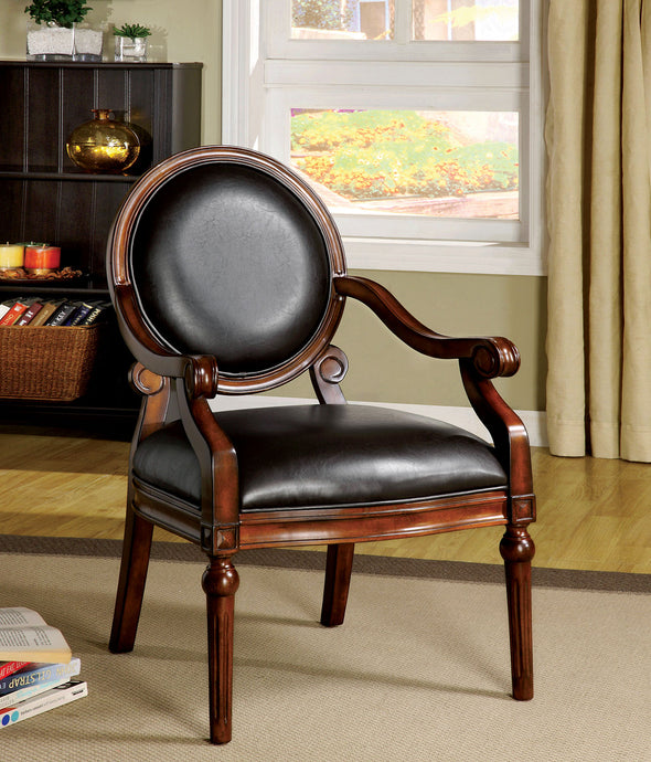 CM-AC6910 Accent Chair - West Point Espresso Leatherette Tobacco Oak Finish Traditional Style Accent Chair