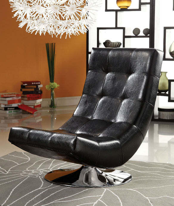 CM-AC6912BK Swivel Accent Chair - Trinidad Contemporary Style Black Finish Leatherette Swivel Accent Chair