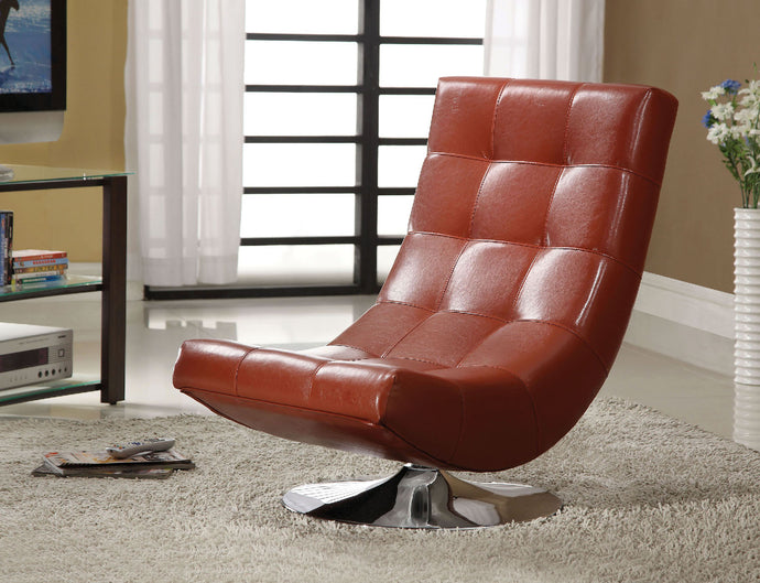 CM-AC6912RD Swivel Accent Chair - Trinidad Contemporary Style Mahogany Red Leatherette Swivel Accent Chair