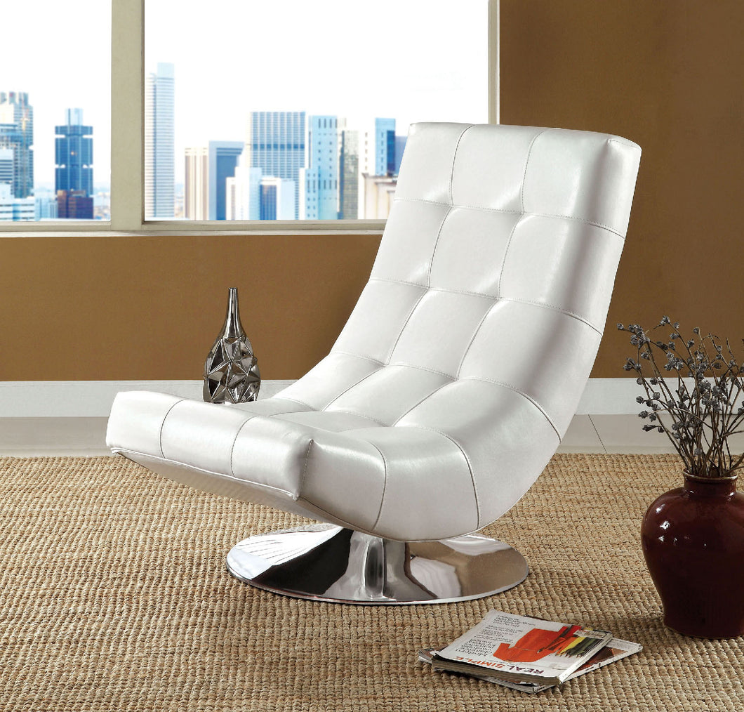 CM-AC6912WH Swivel Accent Chair - Trinidad Contemporary Style White Finish Leatherette Swivel Accent Chair